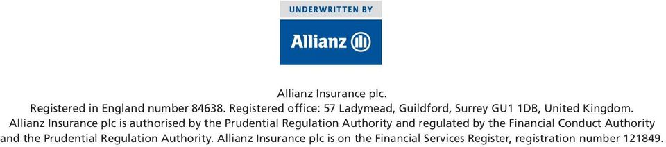 Allianz Insurance plc is authorised by the Prudential Regulation Authority and regulated by the