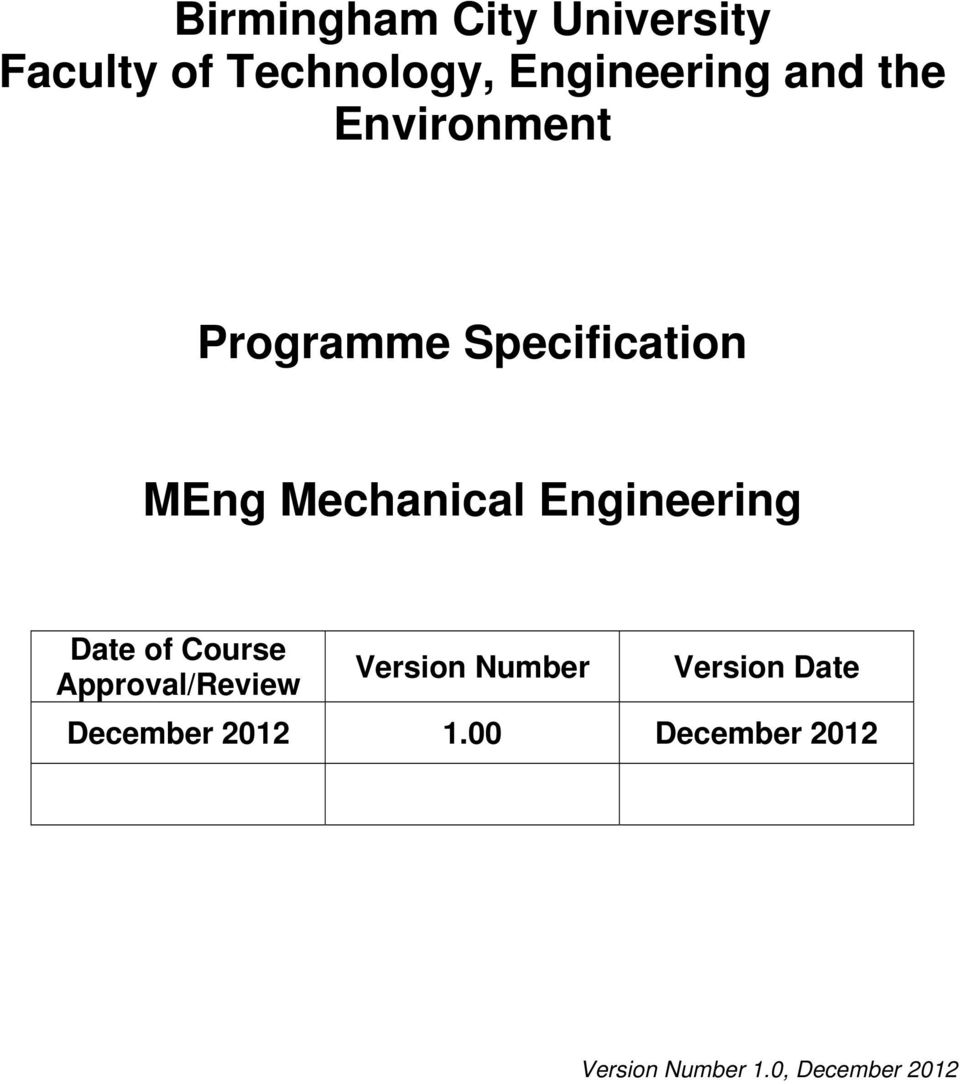 Engineering Date of Course Approval/Review Version Number