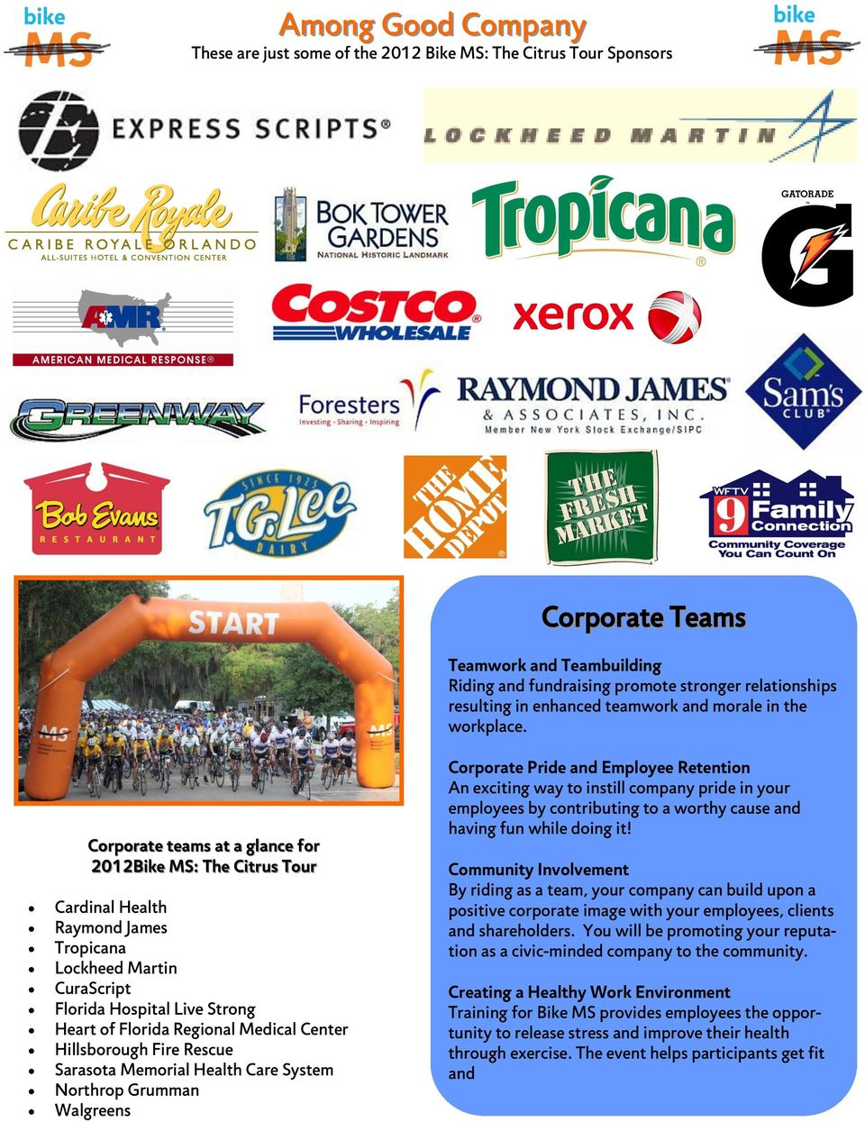 Corporate teams at a glance for 2012Bike MS: The Citrus Tour Cardinal Health Raymond James Tropicana Lockheed Martin CuraScript Florida Hospital Live Strong Heart of Florida Regional Medical Center