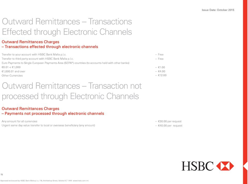 01 < 1,000 1,000.01 and over Other Currencies Outward Remittances Transaction not processed through Electronic Channels 1.00 4.00 12.