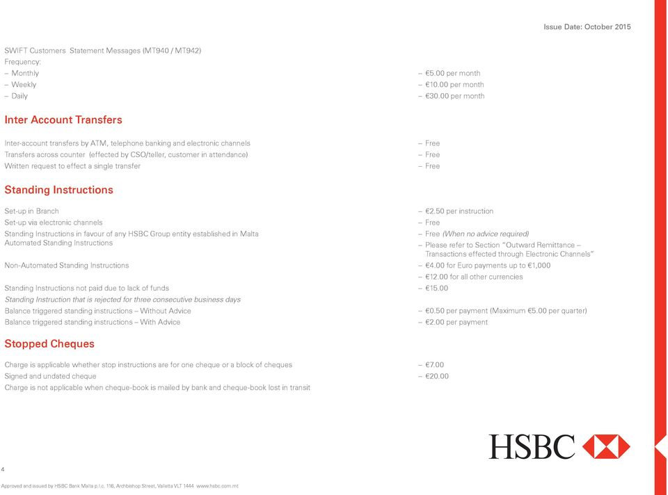 request to effect a single transfer Standing Instructions Set-up in Branch Set-up via electronic channels Standing Instructions in favour of any HSBC Group entity established in Malta Automated
