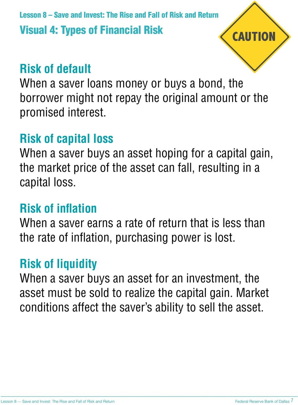 Risk of capital loss When a saver buys an asset hoping for a capital gain, the market price of the asset can fall, resulting in a capital loss.