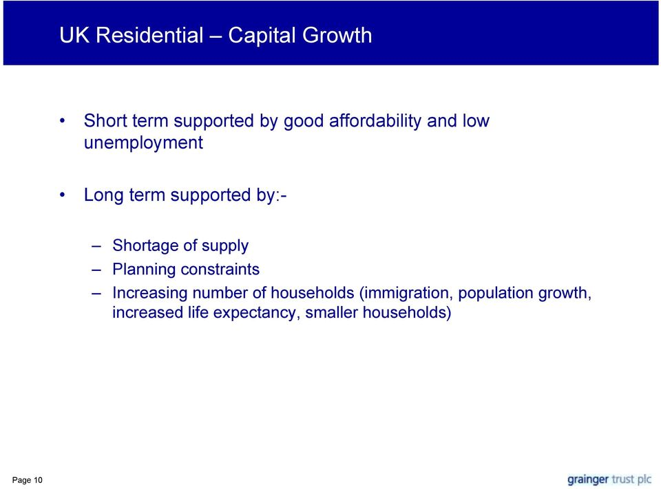 of supply Planning constraints Increasing number of households