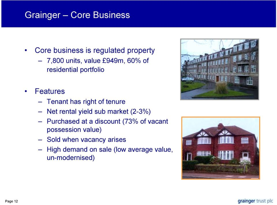 yield sub market (2-3%) Purchased at a discount (73% of vacant possession value)