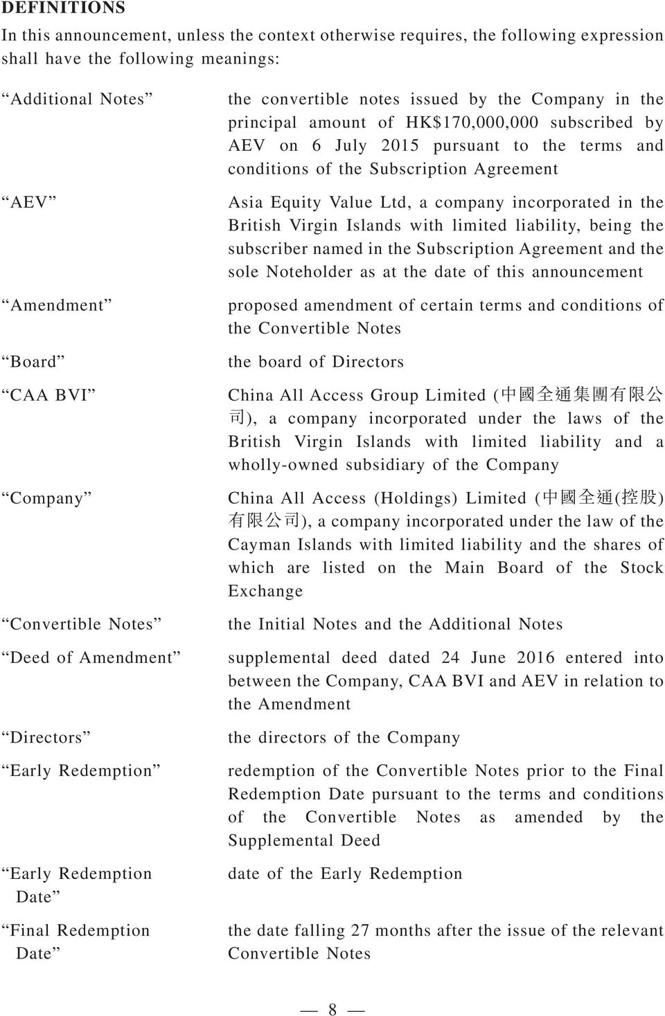 on 6 July 2015 pursuant to the terms and conditions of the Subscription Agreement Asia Equity Value Ltd, a company incorporated in the British Virgin Islands with limited liability, being the