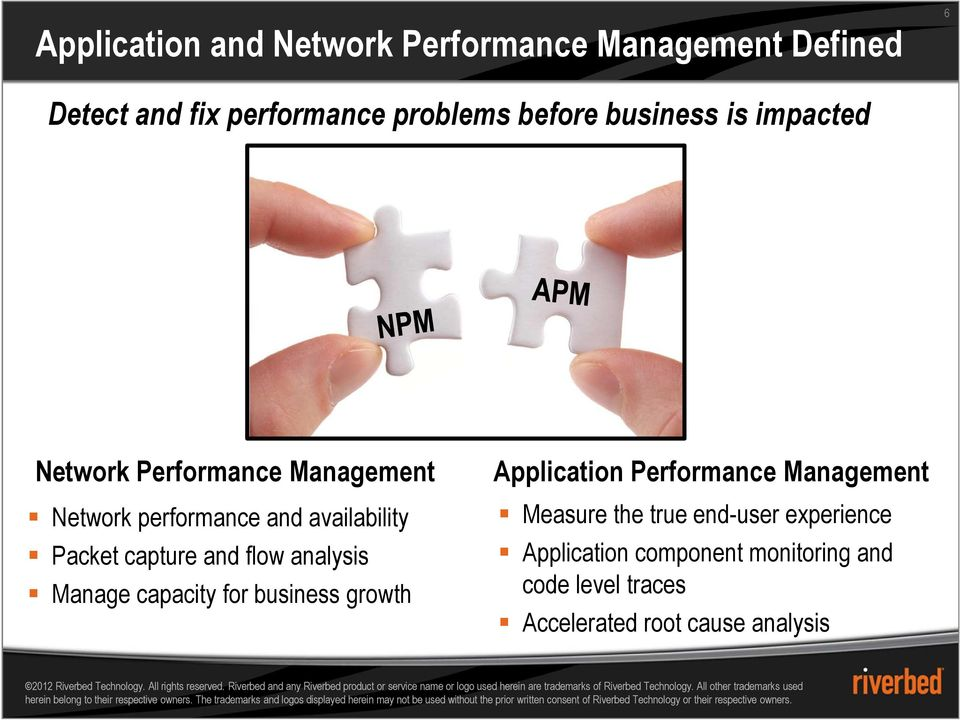 and flow analysis Manage capacity for business growth Application Performance Management Measure the