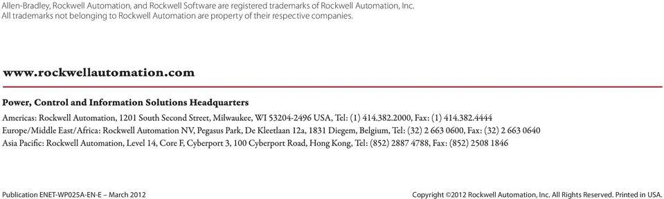 All trademarks not belonging to Rockwell Automation are property of their