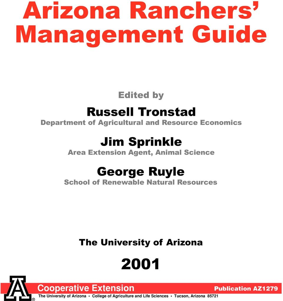 Renewable Natural Resources The University of Arizona 2001 Cooperative Extension Publication