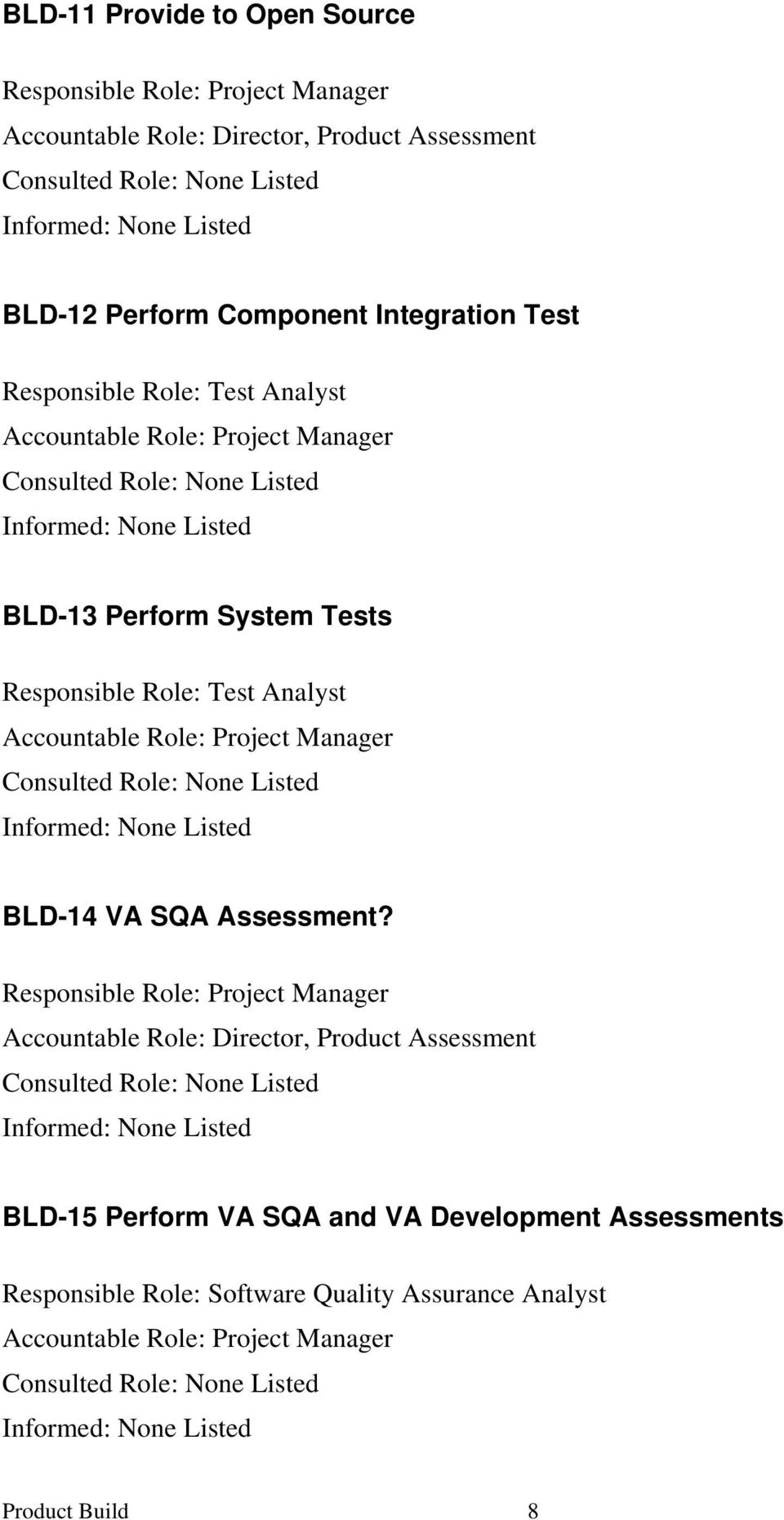 Project Manager Consulted Role: Informed: BLD-14 VA SQA Assessment?