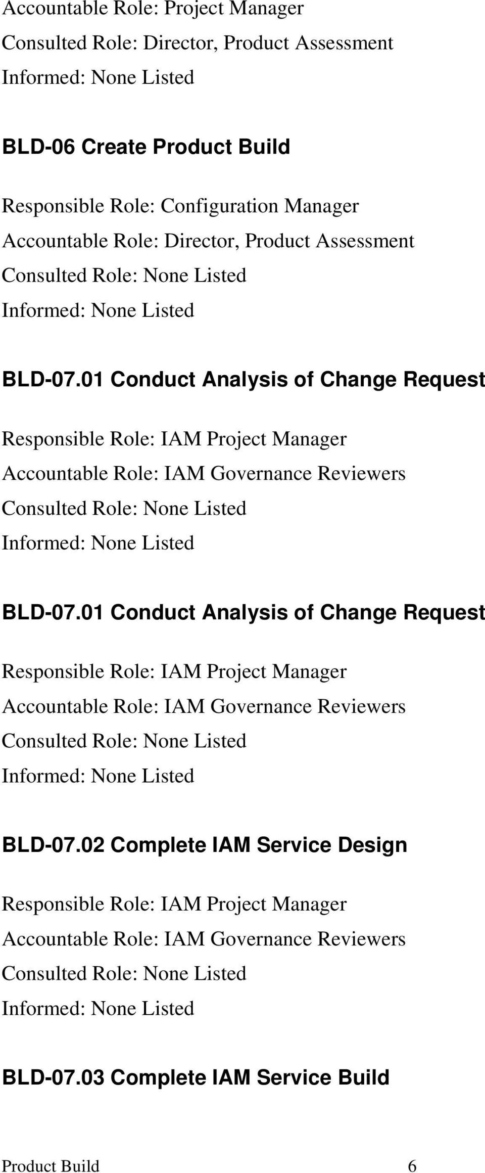 01 Conduct Analysis of Change Request Responsible Role: IAM Project Manager Accountable Role: IAM Governance Reviewers Consulted Role: Informed: BLD-07.