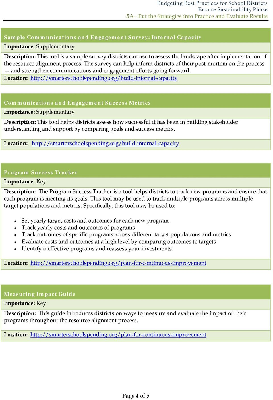 Communications and Engagement Success Metrics Description: This tool helps districts assess how successful it has been in building stakeholder understanding and support by comparing goals and success