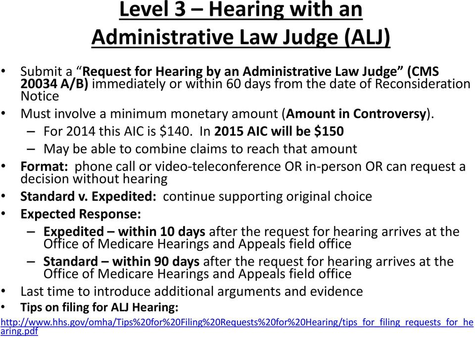 In 2015 AIC will be $150 May be able to combine claims to reach that amount Format: phone call or video-teleconference OR in-person OR can request a decision without hearing Standard v.