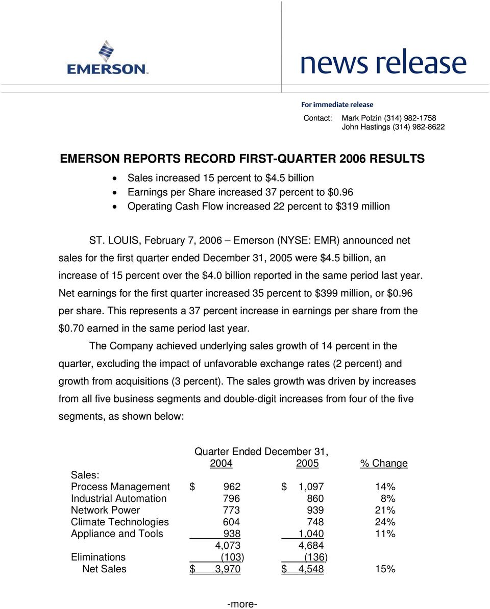 LOUIS, February 7, 2006 Emerson (NYSE: EMR) announced net sales for the first quarter ended December 31, 2005 were $4.5 billion, an increase of 15 percent over the $4.