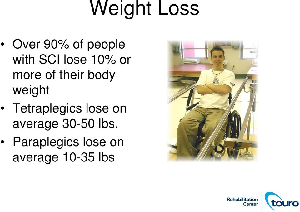 weight Tetraplegics lose on average