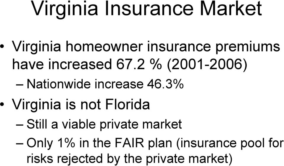 3% Virginia is not Florida Still a viable private market Only 1%