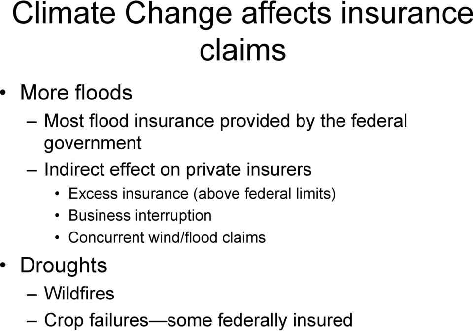 Excess insurance (above federal limits) Business interruption Concurrent