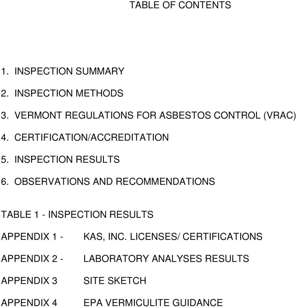 INSPECTION RESULTS 6.