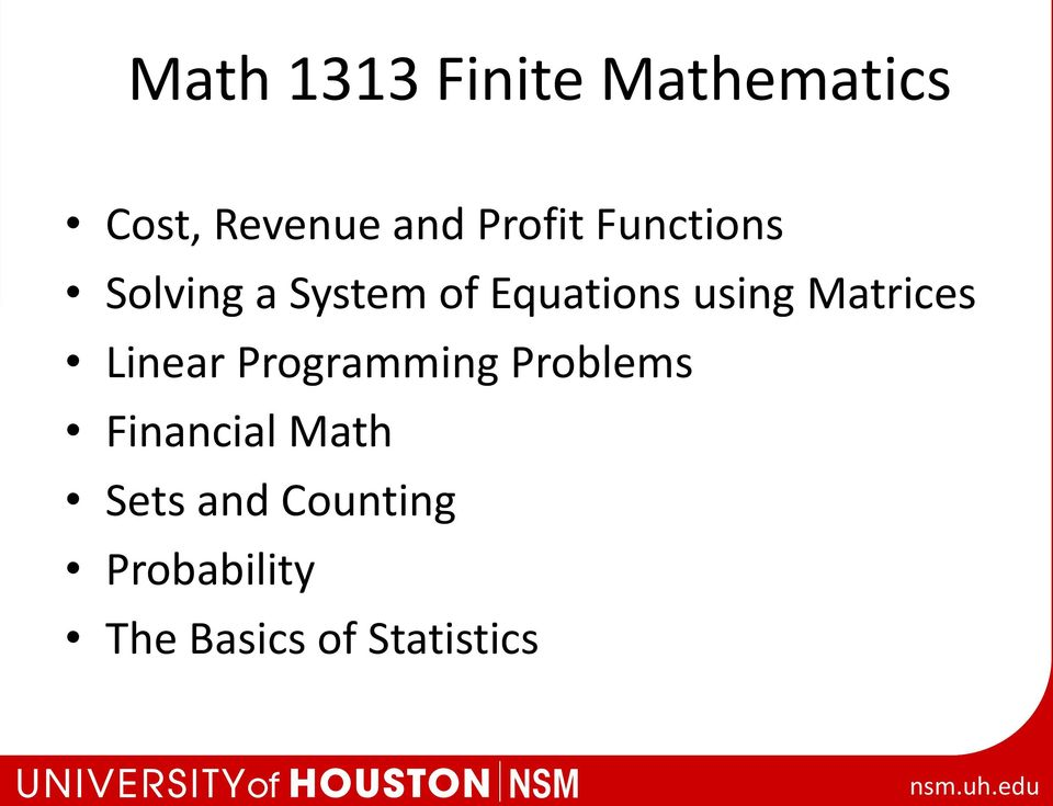 using Matrices Linear Programming Problems