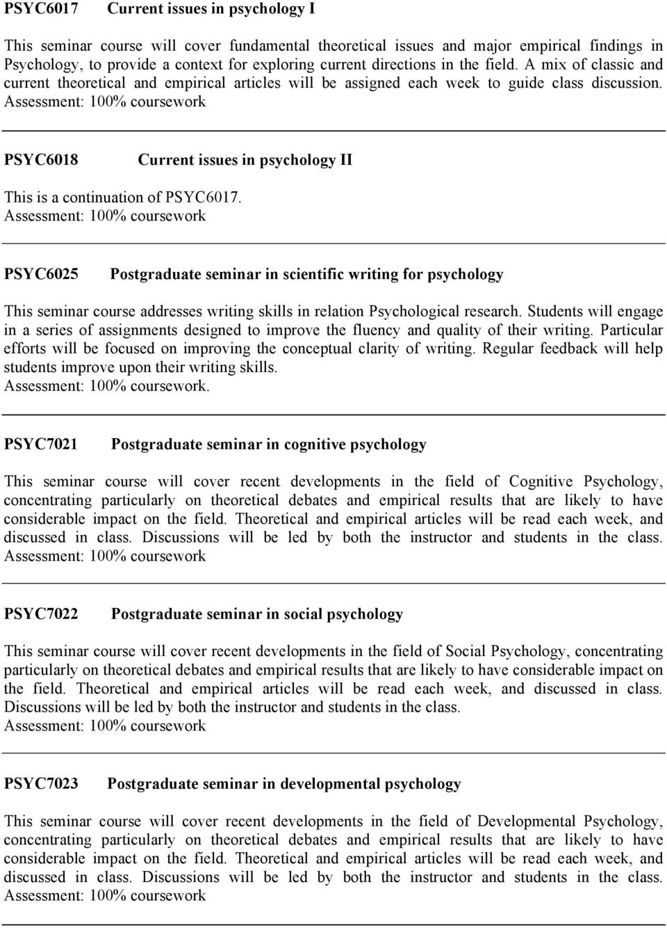 PSYC6018 Current issues in psychology II This is a continuation of PSYC6017.