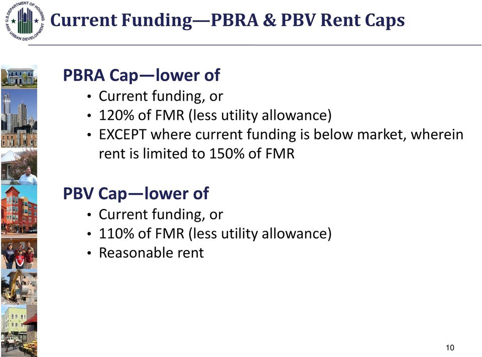 below market, wherein rent is limited to 150% of FMR PBV Cap lower of