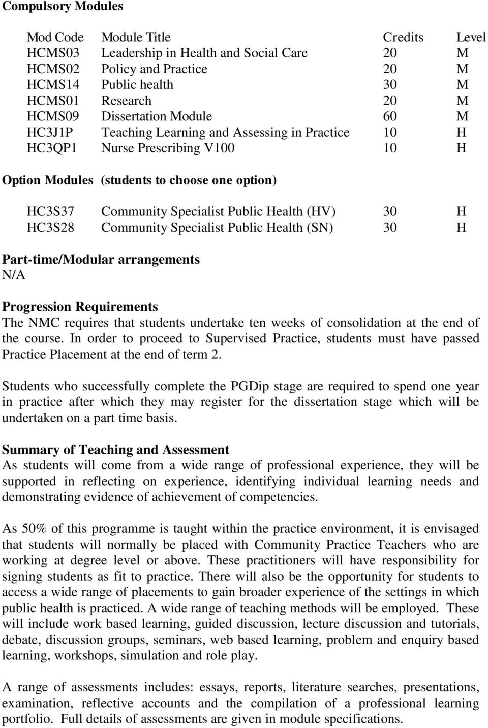 (HV) 30 H HC3S28 Community Specialist Public Health (SN) 30 H Part-time/Modular arrangements N/A Progression Requirements The NMC requires that students undertake ten weeks of consolidation at the