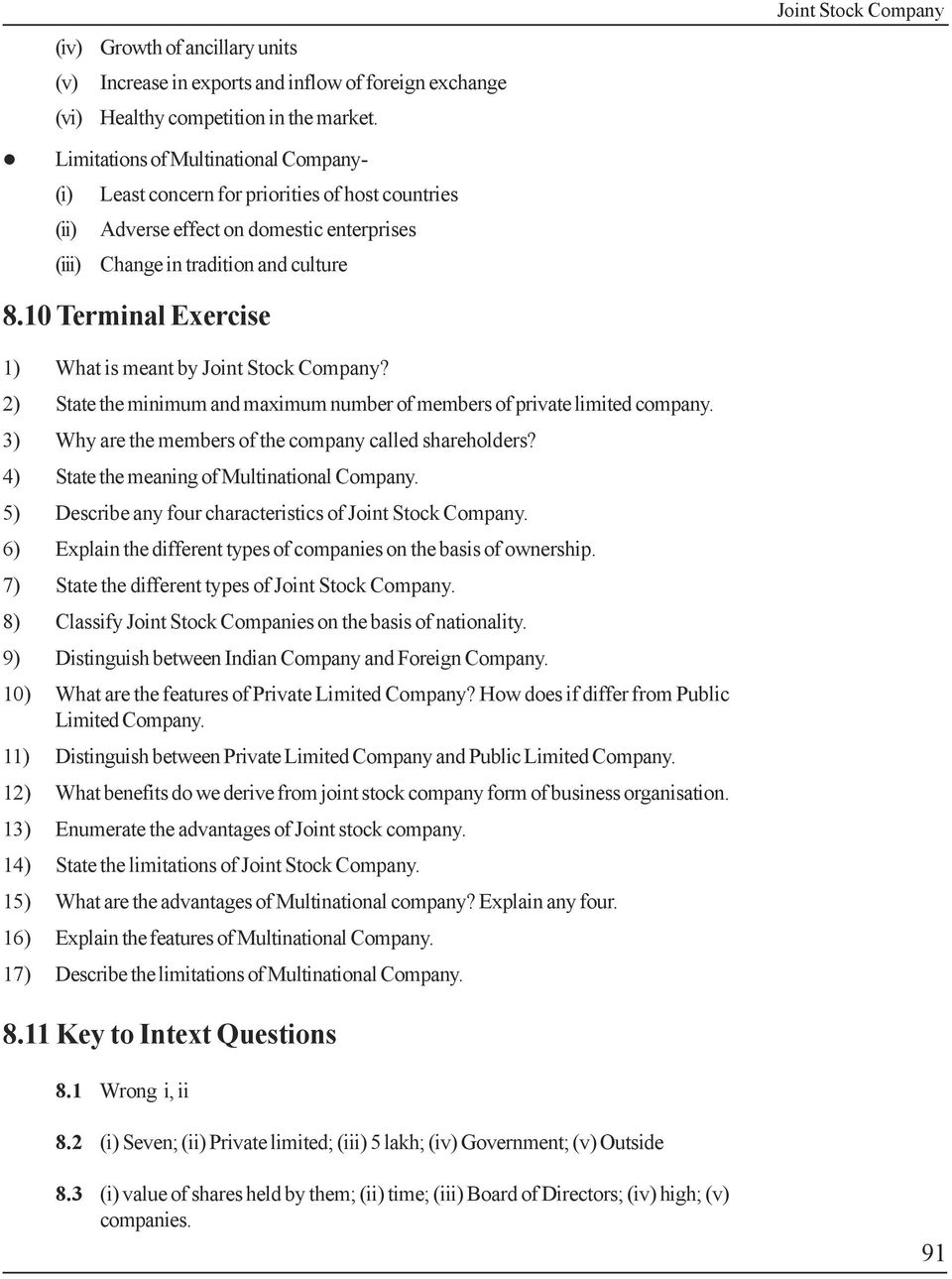 joint stock company lesson objectives meaning of joint stock 10 terminal exercise 1 what is meant by joint stock company 2 state