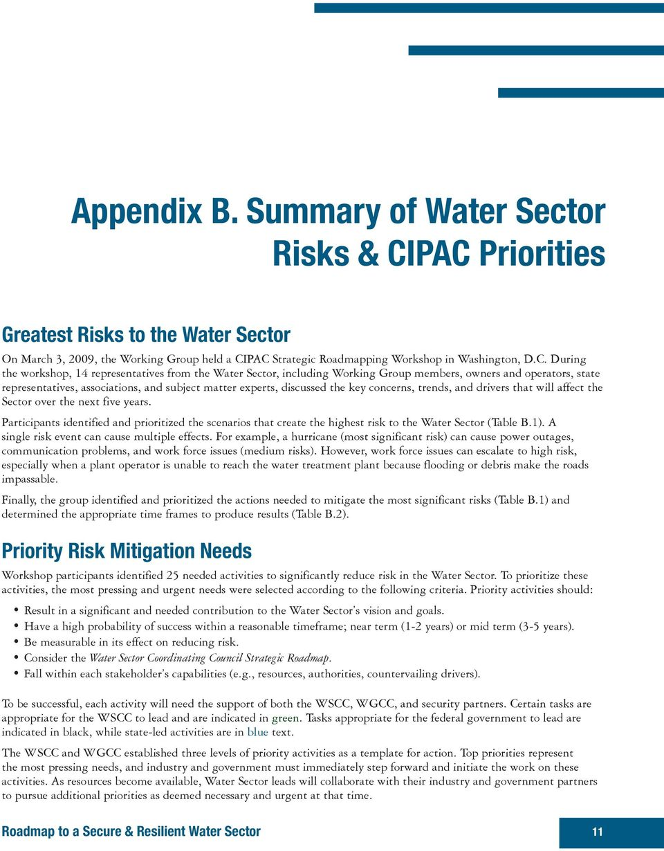 Water Sector, including Working Group members, owners and operators, state representatives, associations, and subject matter experts, discussed the key concerns, trends, and drivers that will affect
