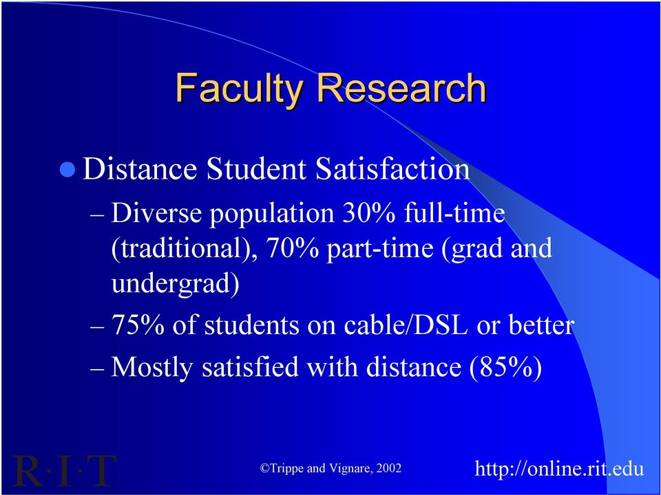 part-time (grad and undergrad) 75% of students on