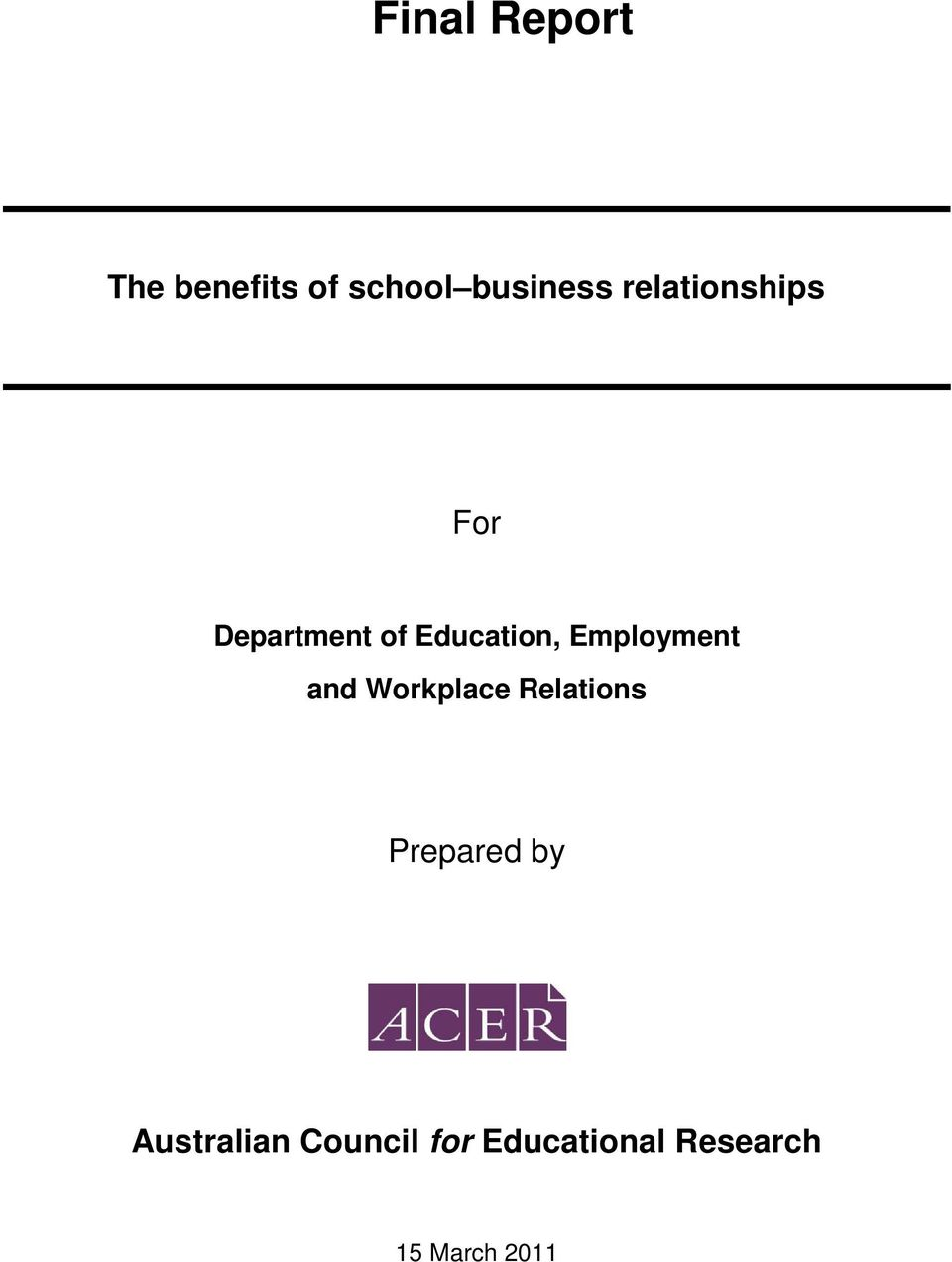 Employment and Workplace Relations Prepared by