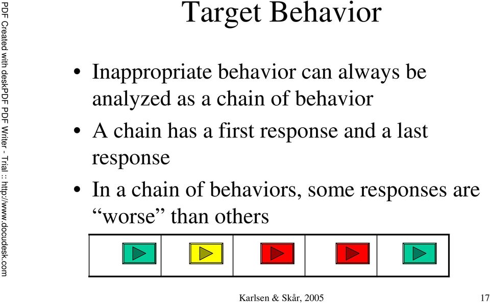 response and a last response In a chain of behaviors,