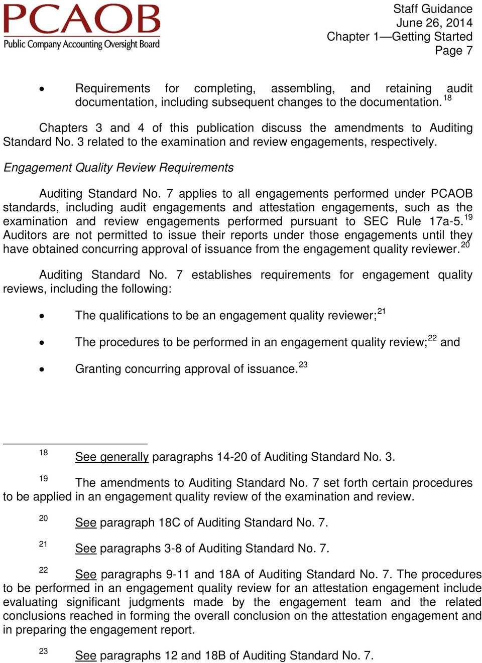 Engagement Quality Review Requirements Auditing Standard No.