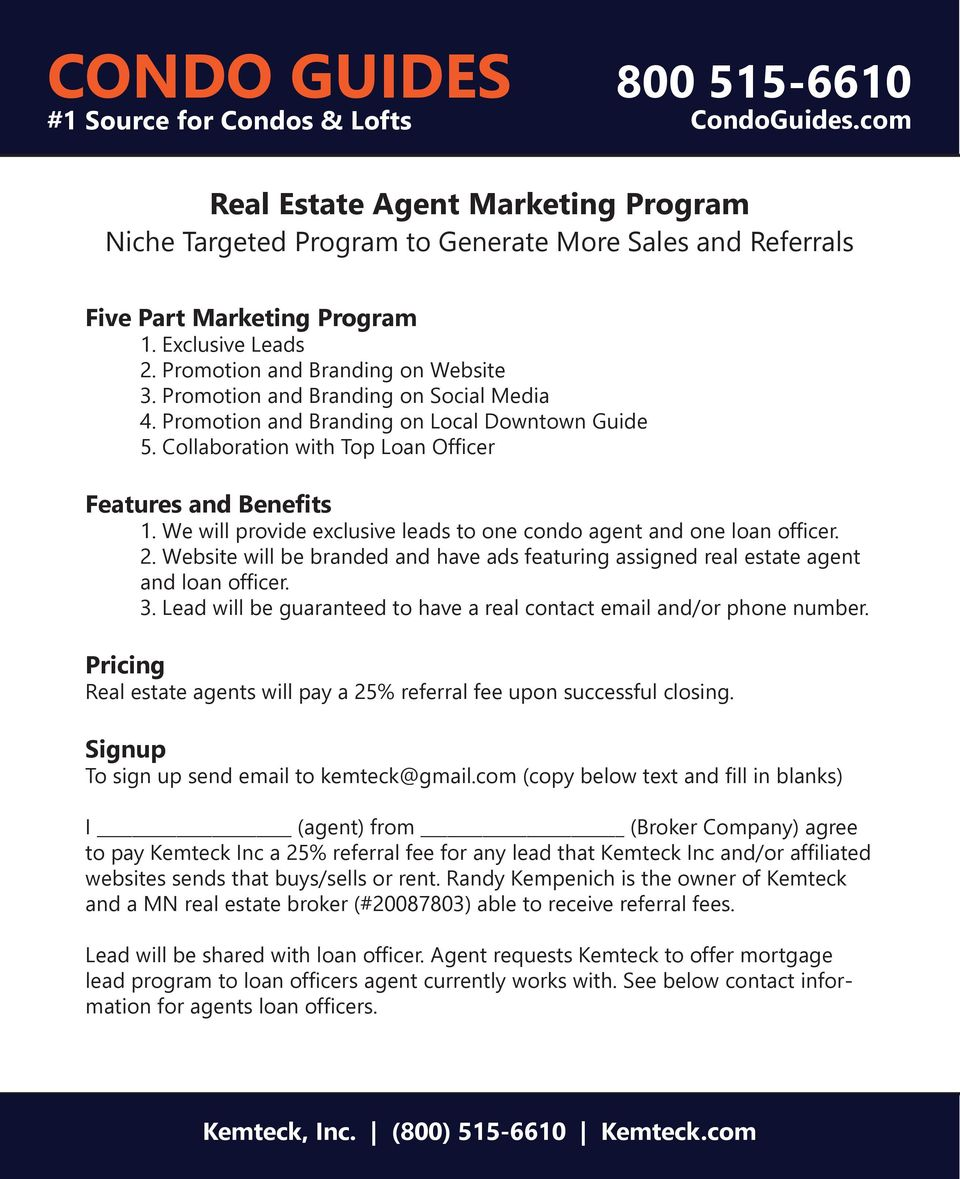 MEDIA KIT  Real Estate Agent Marketing Program  Pay only 25