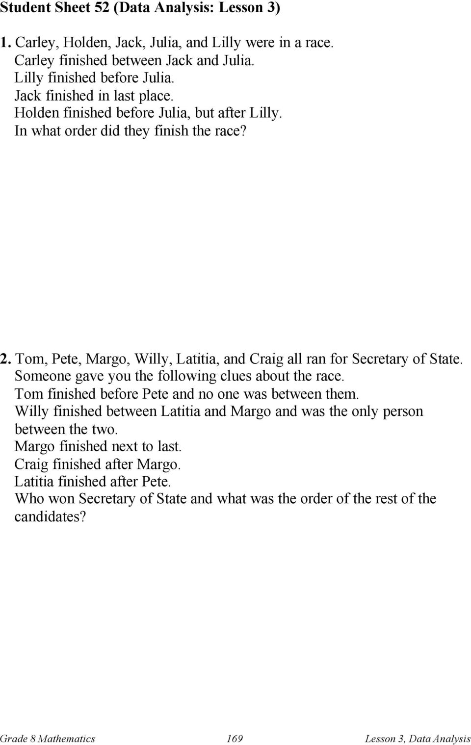 Tom, Pete, Margo, Willy, Latitia, and Craig all ran for Secretary of State. Someone gave you the following clues about the race. Tom finished before Pete and no one was between them.
