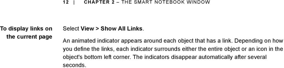 Depending on how you define the links, each indicator surrounds either the entire object or
