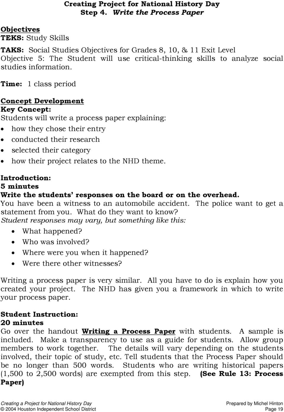 how to do a process paper