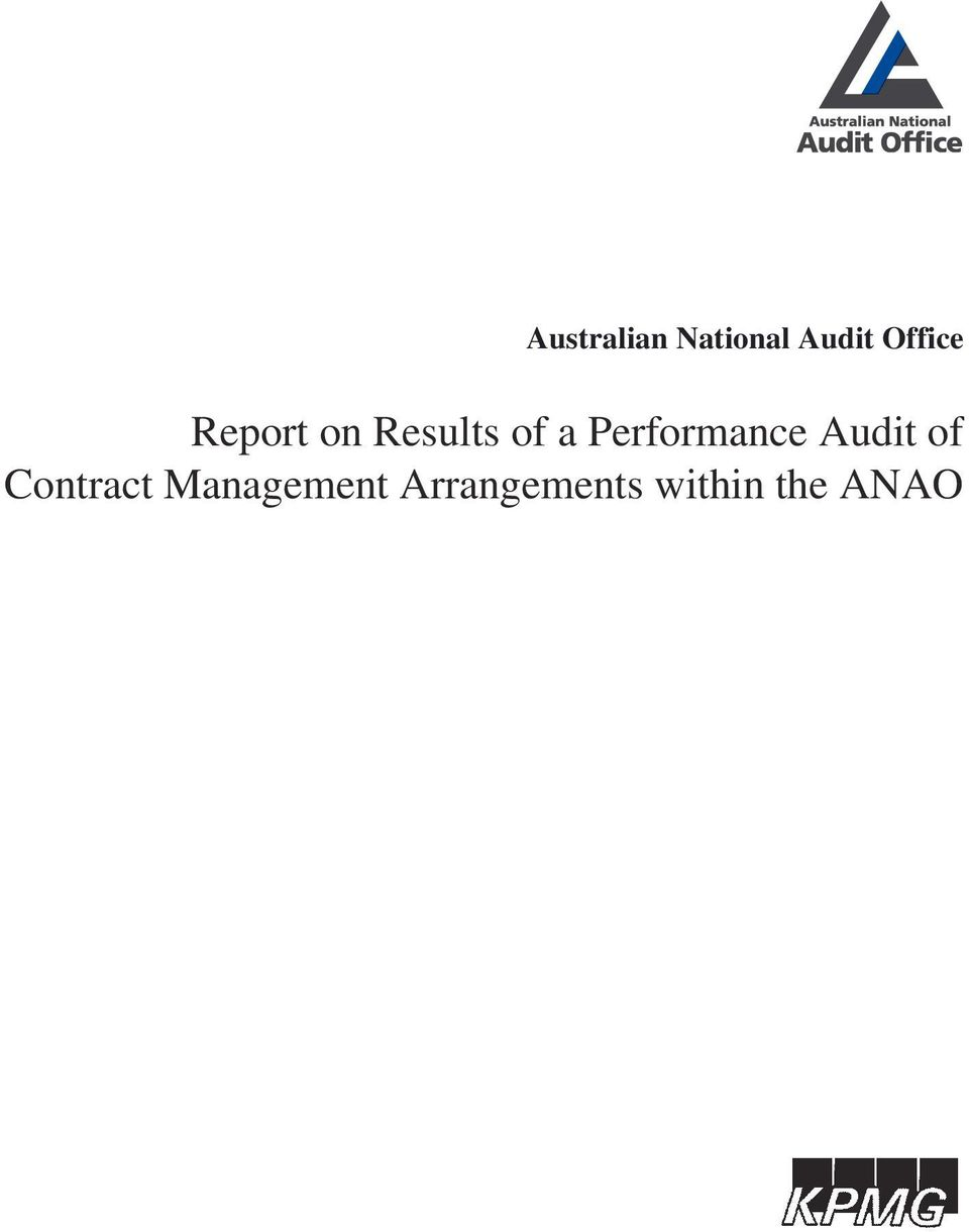 Performance Audit of Contract