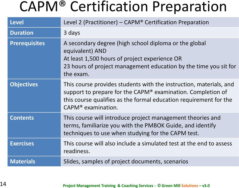 This course provides students with the instruction, materials, and support to prepare for the CAPM examination.