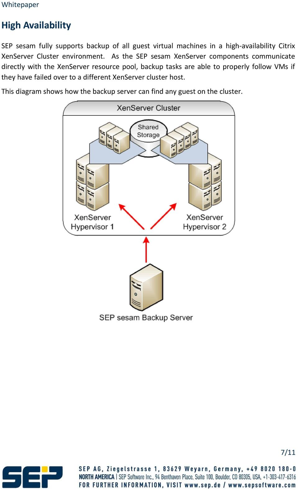 As the SEP sesam XenServer components communicate directly with the XenServer resource pool, backup tasks
