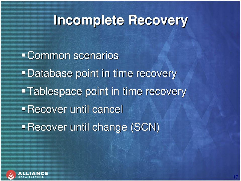 Tablespace point in time recovery