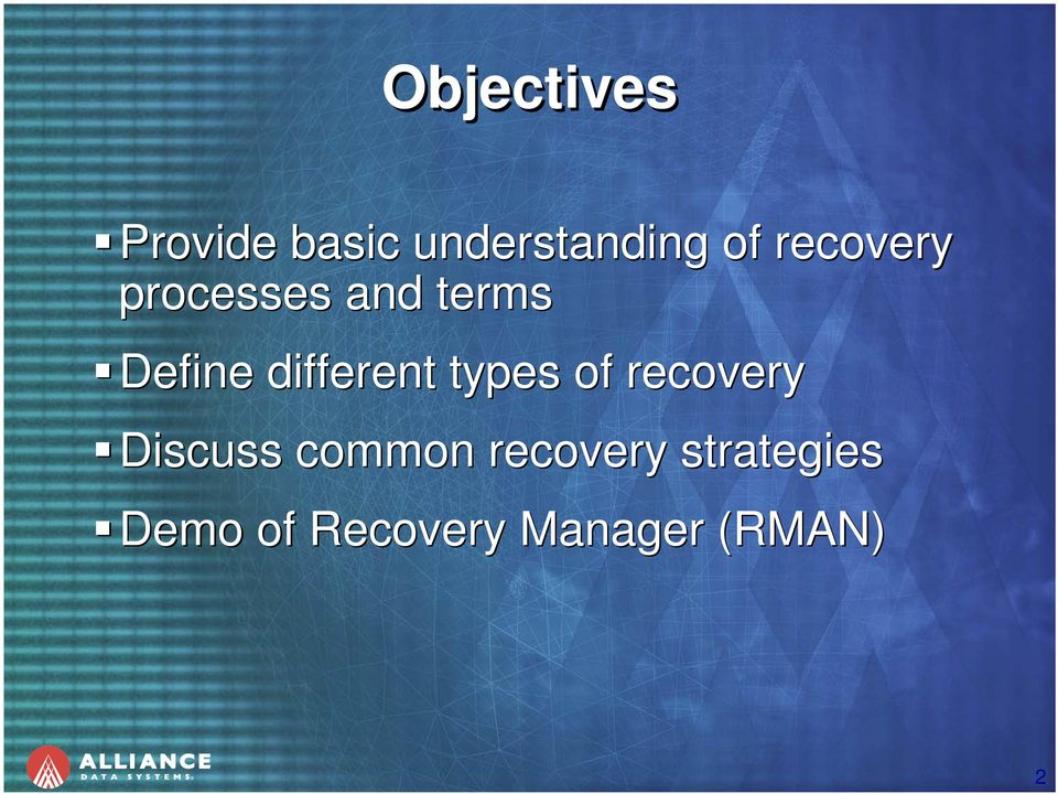 different types of recovery Discuss common