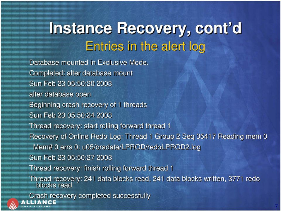 recovery: start rolling forward thread 1 Recovery of Online Redo Log: Thread 1 Group 2 Seq 35417 Reading mem 0 Mem# 0 errs 0: