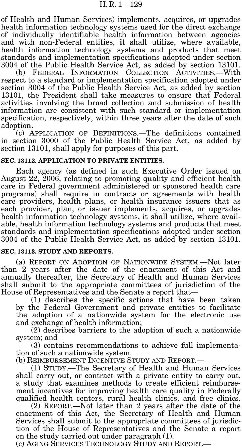 section 3004 of the Public Health Service Act, as added by section 13101. (b) FEDERAL INFORMATION COLLECTION ACTIVITIES.