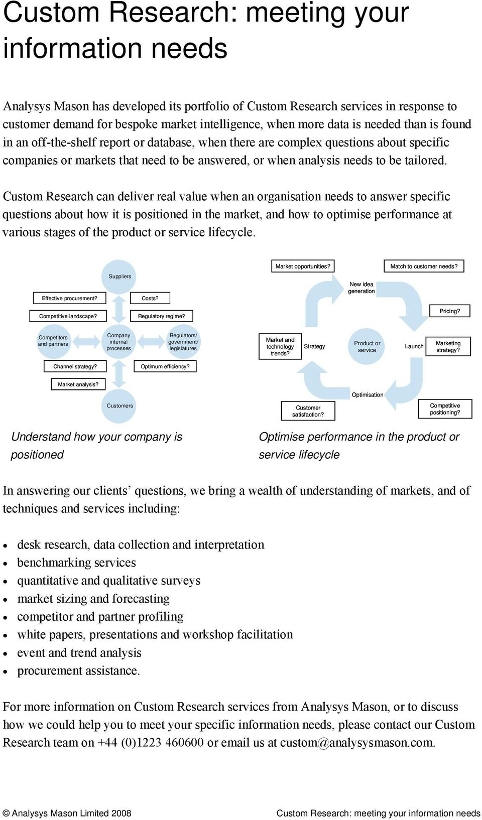 Custom Research can deliver real value when an organisation needs to answer specific questions about how it is positioned in the market, and how to optimise performance at various stages of the