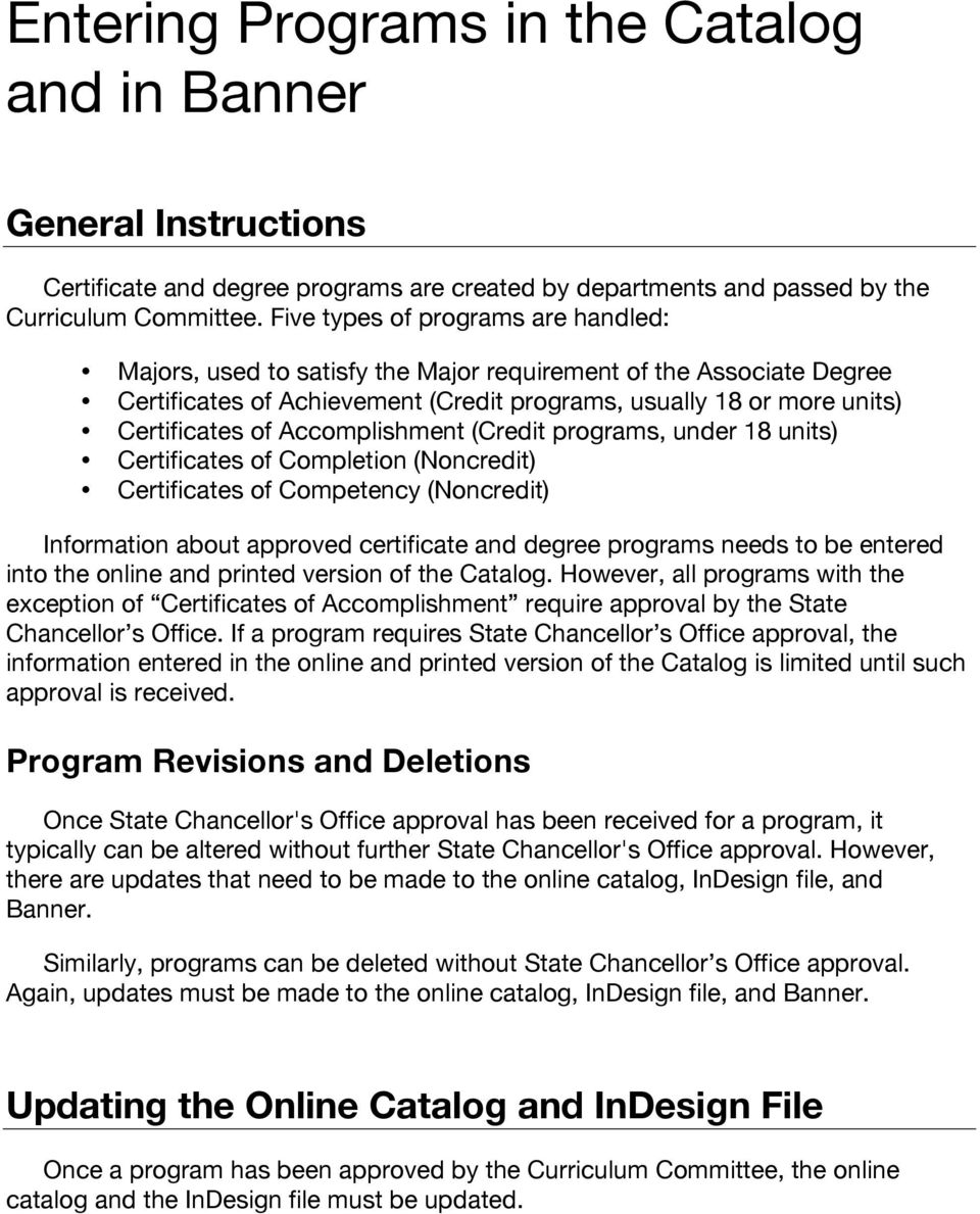 Entering Programs In The Catalog And In Banner Pdf