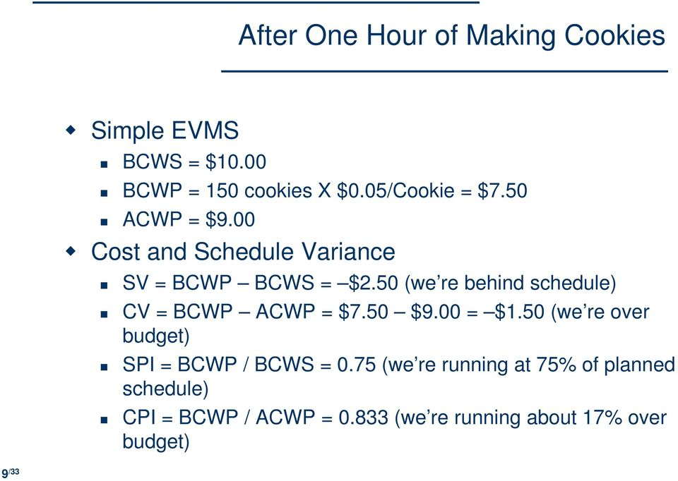 50 (we re behind schedule) CV = BCWP ACWP = $7.50 $9.00 = $1.