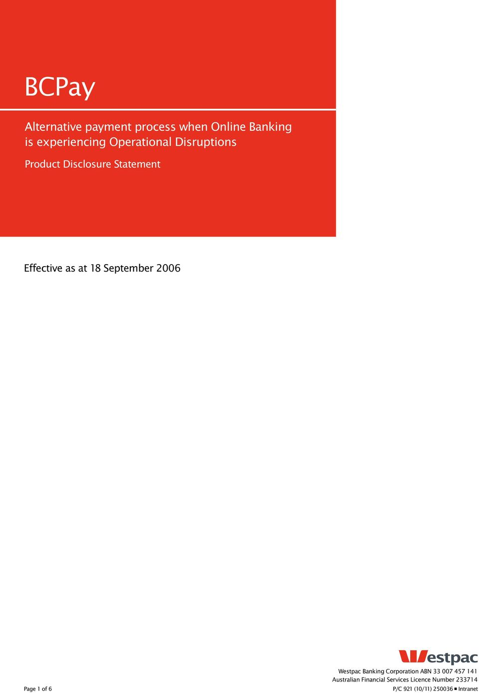 Effective as at 18 September 2006 Page 1 of 6 Westpac Banking