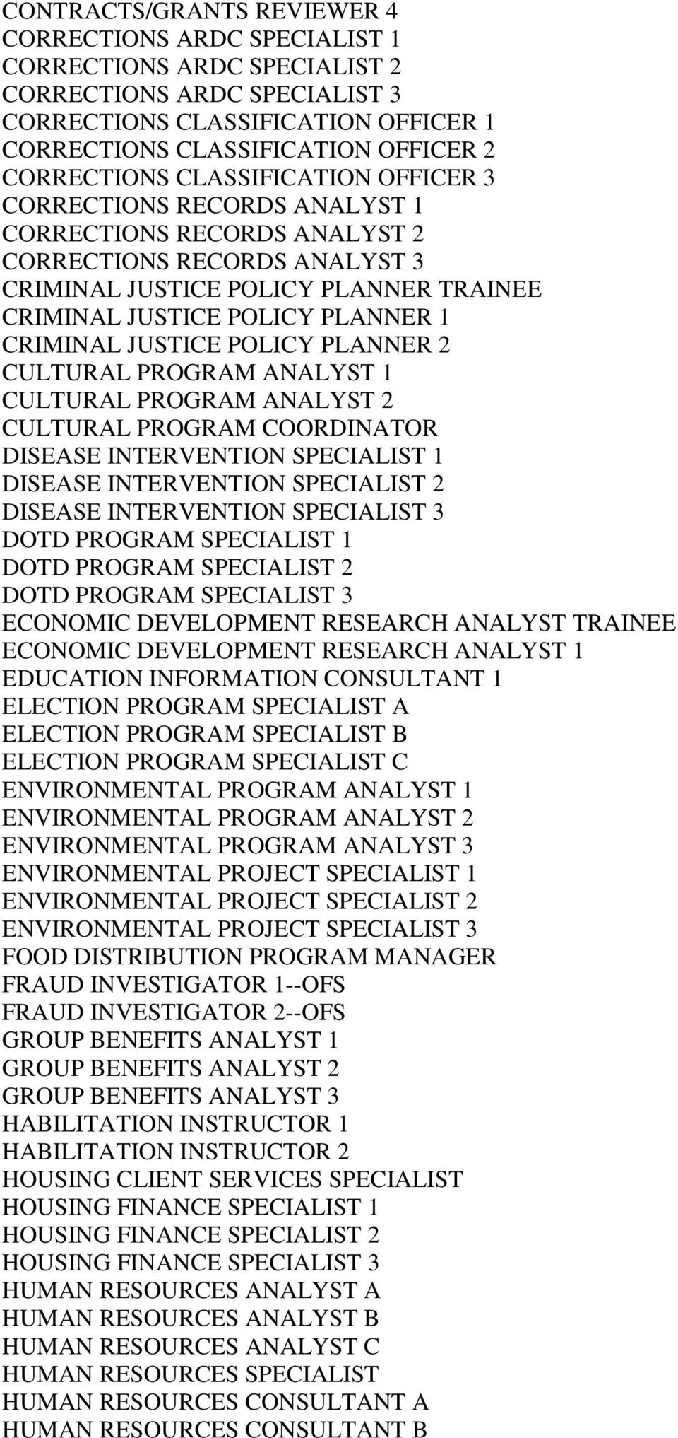 1 CRIMINAL JUSTICE POLICY PLANNER 2 CULTURAL PROGRAM ANALYST 1 CULTURAL PROGRAM ANALYST 2 CULTURAL PROGRAM COORDINATOR DISEASE INTERVENTION SPECIALIST 1 DISEASE INTERVENTION SPECIALIST 2 DISEASE