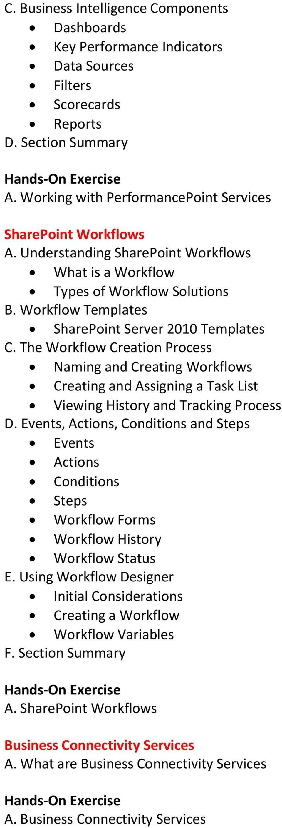The Workflow Creation Process Naming and Creating Workflows Creating and Assigning a Task List Viewing History and Tracking Process D.