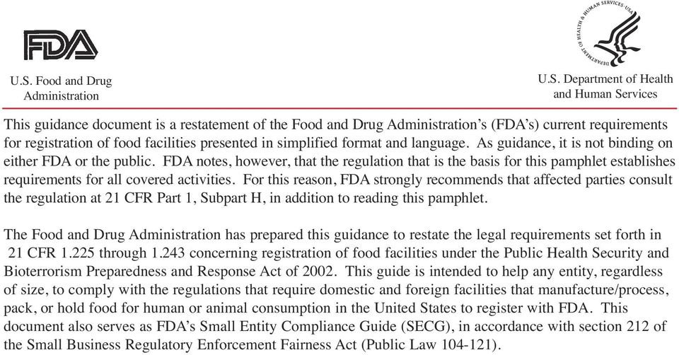 FDA notes, however, that the regulation that is the basis for this pamphlet establishes requirements for all covered activities.