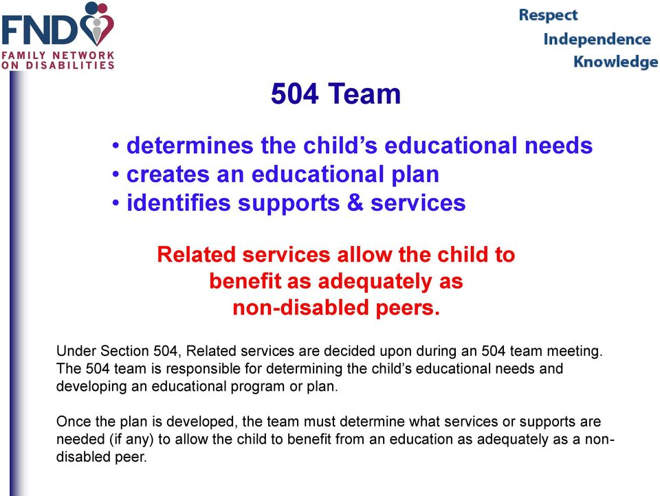 The 504 team is responsible for determining the child s educational needs and developing an educational program or plan.
